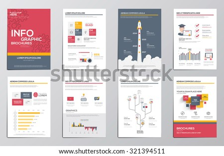 Infographics elements for corporate brochures. Flat design. Vector