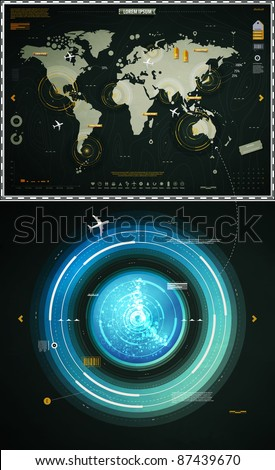 infographics elements of the world map, and sonar