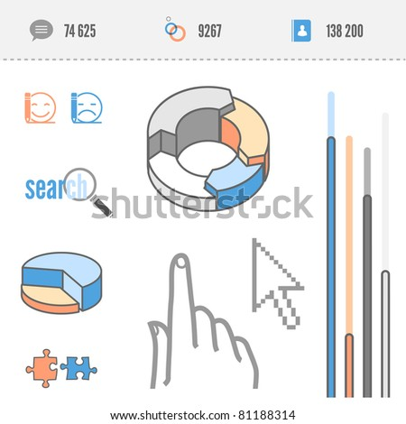 infographics elements - stats pie, search icon, touchscreen hand, bar