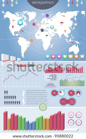 Infographics elements  vector design and world map