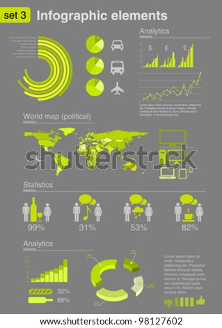 Infographics elements with icons For business and finance & social reports, statistics, diagram graph