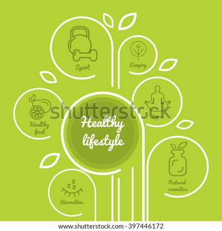 Infographics healthy lifestyle with healthy food icons, dumbbell, fruits, camping. Diet concept. Meal plan. Fitness food.  Meditation icon.