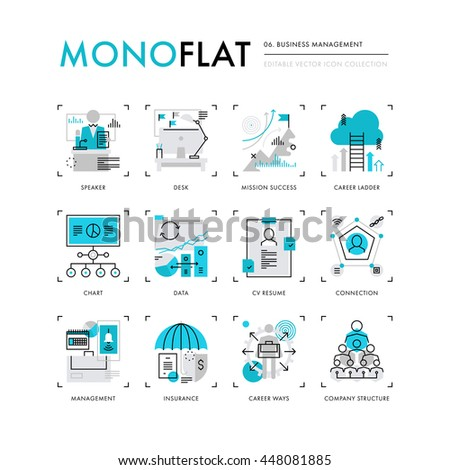 Infographics icons collection of business company structure, human resources management. Modern thin line icons set. Premium quality vector illustration concept. Flat design web graphics elements.