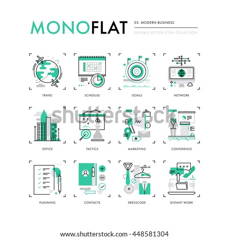 Infographics icons collection of business travel, marketing tactics, planning working goals. Modern thin line icons set. Premium quality vector illustration concept. Flat design web graphics elements.