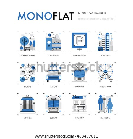Infographics icons collection of city buildings, park recreation zone, public transportation. Modern thin line icons set. Premium quality vector illustration concept. Flat design web graphics elements