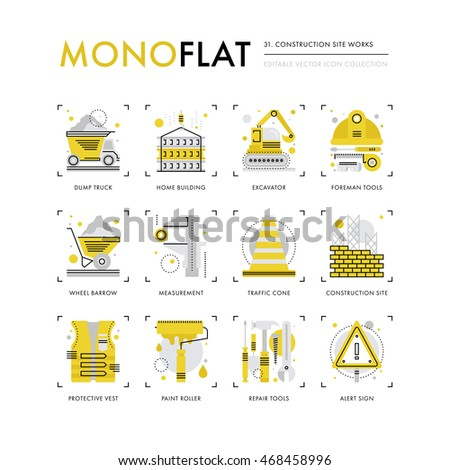 Infographics icons collection of construction site safety, crane building, foreman equipment. Modern thin line icons set. Premium quality vector illustration concept. Flat design web graphics elements