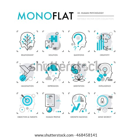 Infographics icons collection of human intelligence, psychology models, mental operations. Modern thin line icons set. Premium quality vector illustration concept. Flat design web graphics elements.