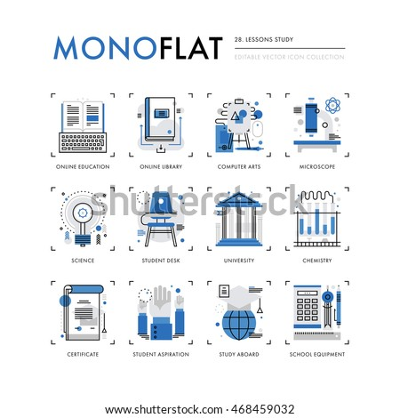 Infographics icons collection of lessons study, online school course, students class desk. Modern thin line icons set. Premium quality vector illustration concept. Flat design web graphics elements.