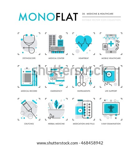 Infographics icons collection of medical center building, herbal medicine, surgical instruments. Modern thin line icons set Premium quality vector illustration concept Flat design web graphics element