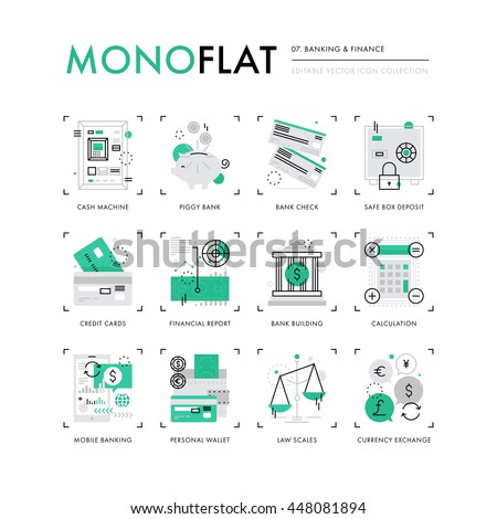 Infographics icons collection of mobile banking, personal finance, money and credit cards. Modern thin line icons set. Premium quality vector illustration concept. Flat design web graphics elements.