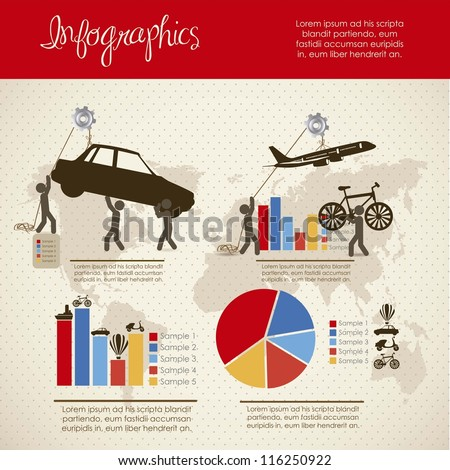 infographics illustration of transportation icons with icons of people, vector illustration