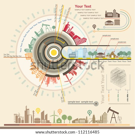 Infographics Industrial buildings and residential areas , Set Of vector  infographics and Information Graphics