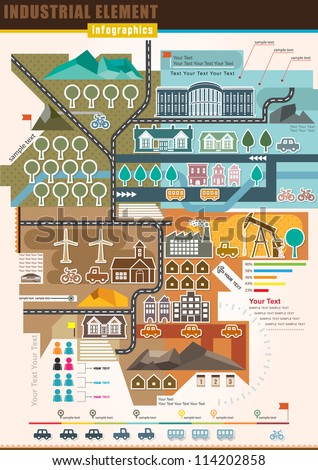 Infographics Industrial Element and residential areas , Set Of vector infographics and Information Graphics