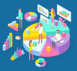 Infographics, isometric 3d charts, pie charts, graphics, pyramids, diagrams, financial strategy, visual presentation, analysis info, statistics, people and digital marketing, business researching