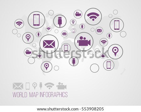 Infographics map with symbols and space for text for presentations, web design and business