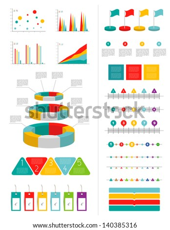 Infographics marketing set with charts diagrams and speech bubbles