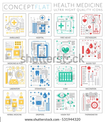 Infographics mini concept Medicine and health icons for web. Premium quality design web graphics icons elements. Medicine and health concepts