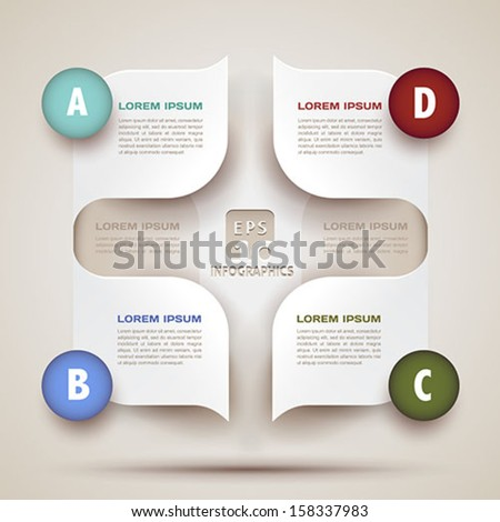 infographics modern business background - 3d paper shapes origami - bubble speech -vector illustration for presentation, brochure cover, workflow layout, diagram, web design