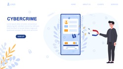 Infographics of cybersecurity. Concept of preventing smartphone of hacker attacks, internet crime and digital fraud by using cyber security and computer protection. Website, landing page template
