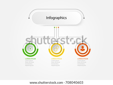 Infographics of 3 elements horizontal ,Infographic design vector Business concept steps or processes can be used for workflow layout, diagram, annual report, web design