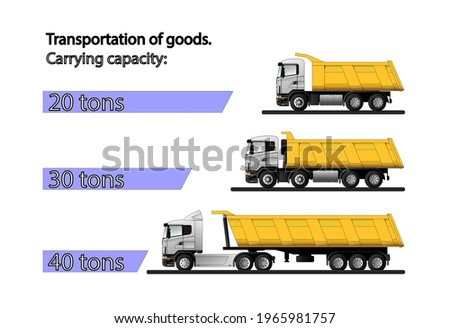 Infographics of the carrying capacity of dump trucks for the transportation of bulk cargo with a carrying capacity of 20, 30 and 40 tons. Flat vector illustration. Photo stock ©