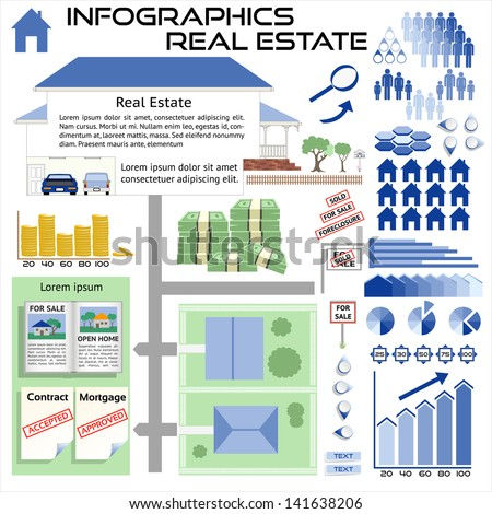 Infographics Real Estate House Sales - All objects grouped separately and easy to edit EPS10