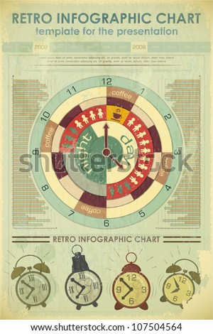 Infographics Retro elements and set of alarms - work time concept - vector illustration