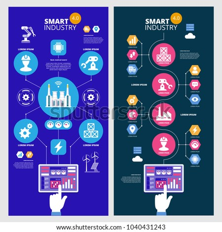 Infographics Smart industry 4.0. Artificial intelligence. Automation and user interface concept. User connecting with a tablet and exchanging data with a cyber-physical system. Set of vector banners.