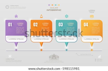 Infographics square design template with icons, process diagram, Vector eps10 illustration