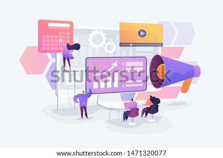 Infographics, statistics diagrams and charts visualization. Digital presentation, office online meeting, visual data representation concept. Vector isolated concept creative illustration
