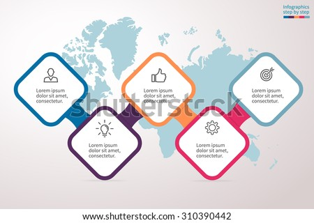 Infographics step by step in a series of rounded squares on a map background. Element of chart, graph, diagram with 5 options, parts, processes. Vector business template for presentation.