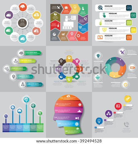 Infographics step by step. Standard pie chart, graph, options, parts, processes with arrows. Vector business template for presentation and training.