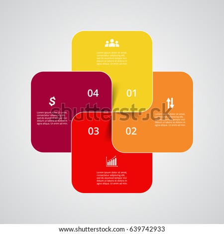 Infographics step by step. Universal abstract element of chart, graph, diagram with 4 steps, options, parts, processes. Vector business template for presentation and training.