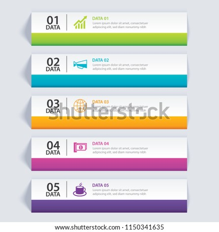 Infographics tab in horizontal paper index with 5 data template. Vector illustration abstract background. Can be used for workflow layout, business step, banner, web design.