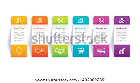 Infographics tab in vertical paper index with 6 data template. Vector illustration abstract background. Can be used for workflow layout, business step, banner, web design.