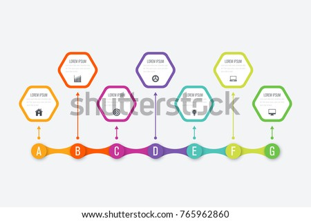 Infographics template 7 options. Data and information visualization. Dynamic infographics stylish geometric. element for design business invitations, gift cards, flyers and brochures