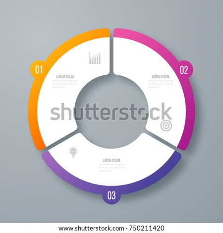 Infographics template 3 options with circle. Data and information visualization. Dynamic infographics stylish geometric. element for design business invitations, gift cards, flyers and brochures