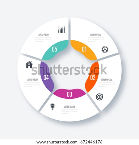 Infographics template 5 options with circles. Can be used for workflow layout, diagram, number options, step up options, web design, presentations