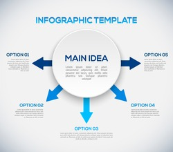 Infographics template with arrows and 3D circle. Different Way Infographics