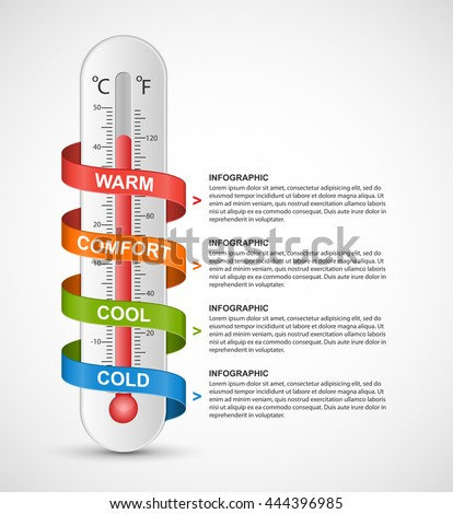 Infographics thermometer surrounded by multi-colored ribbon. Vector illustration.