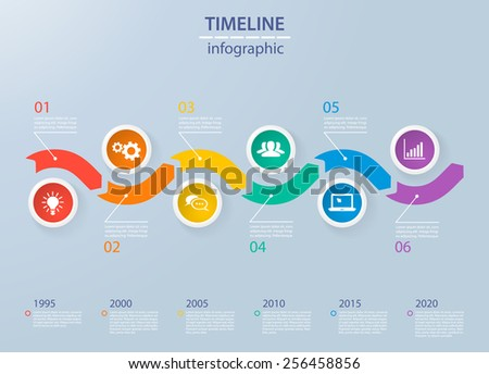Infographics timeline template with realistic colorful circles for 6 steps and icons. Can be used for workflow layout, diagram, number options, step up options, web design, infographics, presentations