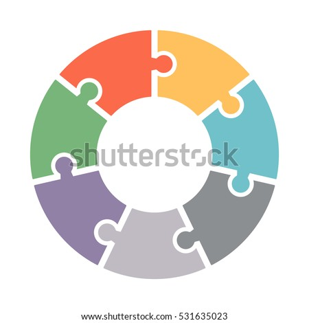 Infographics. Vector diagram. The pattern of a pie chart of the seven colored sections, puzzles.