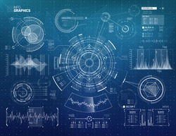 Infographics Vector Elements Set for HUD Sci Fi Interfaces