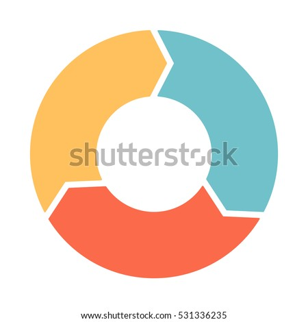 Infographics. Vector. The pattern of a pie chart of the three colored arrows.