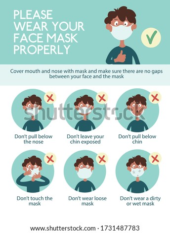 Infographics. Wear your face mask properly. Funny cartoon boy shows how to wear a mask incorrectly. Poster during a pandemic of a coronovirus infection covid-19 Foto stock ©