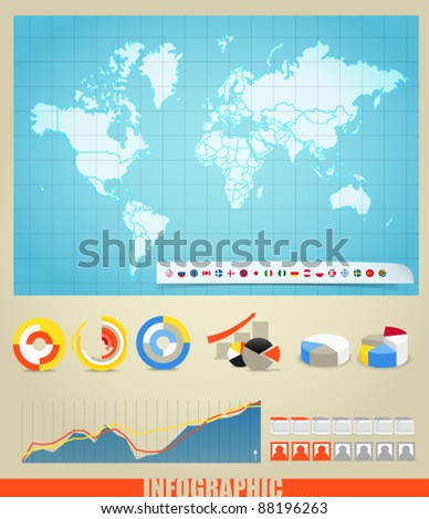 Infographics. World map, flags of different countries and diagrams. You can select any country by color