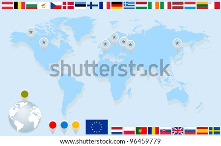 Infographics. World map, flags of EU countries and pointers. Vector eps8 illustration