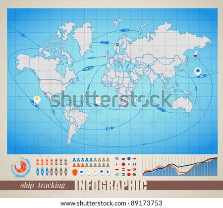 Infographics. World map with ship tracking