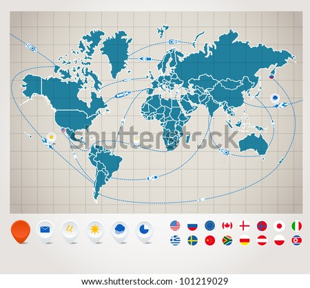 Infographics. World map with ship tracking Infographics. World map with ship tracking