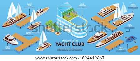 Infographis with various types of yachts boats pier and club building on blue background 3d isometric vector illustration Foto d'archivio ©